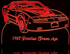 1987 Pontiac Trans Am / TA Acrylic Lighted Edge Lit LED Car Sign / Light Up Plaque