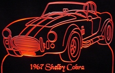 1967 Ford Shelby Cobra Acrylic Lighted Edge Lit LED Car Sign / Light Up Plaque Full Size USA Original