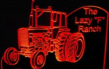 Tractor Lazy F Acrylic Lighted Edge Lit LED Car Sign / Light Up Plaque