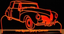 1940 Lincoln Zephyr Cabriolet Acrylic Lighted Edge Lit LED Car Sign / Light Up Plaque