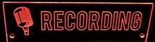 RECORDING Music Studio Flat to the Wall with Mic Acrylic Lighted Edge Lit LED Sign / Light Up Plaque Full Size Made in USA