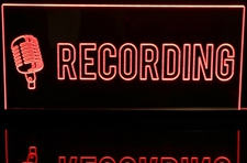 Recording with Mic Music Studio Acrylic Lighted Edge Lit LED Sign / Light Up Plaque Full Size Made in USA