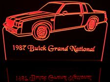 1987 Buick Grand National Acrylic Lighted Edge Lit LED Car Sign / Light Up Plaque
