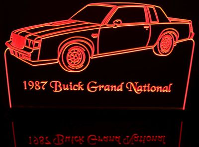 1987 Buick Grand National Acrylic Lighted Edge Lit LED Sign / Light Up Plaque Full Size Made in USA