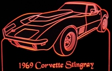 1969 Chevy Corvette Acrylic Lighted Edge Lit LED Car Sign / Light Up Plaque Chevrolet
