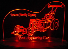 Race Car Trophy SAMPLE ONLY Acrylic Lighted Edge Lit LED Car Sign / Light Up Plaque