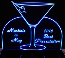 Mantini Cocktail Drinks Champagne Wine Glass Acrylic Lighted Edge Lit LED Sign / Light Up Plaque Full Size Made in USA