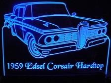 1959 Edsel Corsair Hardtop Acrylic Lighted Edge Lit LED Sign / Light Up Plaque Full Size Made in USA