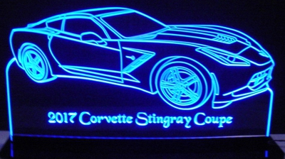 2017 Corvette Stingray Coupe Acrylic Lighted Edge Lit LED Sign / Light Up Plaque Full Size Made in USA
