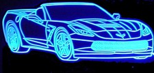2017 Corvette Grand Sport Convertible Acrylic Lighted Edge Lit LED Sign / Light Up Plaque Full Size Made in USA