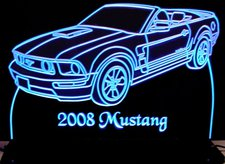 2008 Mustang Convertible Acrylic Lighted Edge Lit LED Sign / Light Up Plaque Full Size Made in USA