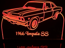 1966 Impala SS Acrylic Lighted Edge Lit LED Sign / Light Up Plaque Full Size Made in USA