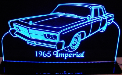 1965 Imperial Acrylic Lighted Edge Lit LED Sign / Light Up Plaque Full Size Made in USA