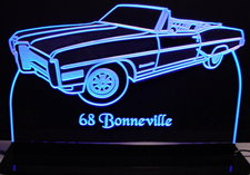 1968 Bonneville Convertible Acrylic Lighted Edge Lit LED Sign / Light Up Plaque Full Size Made in USA