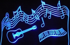 Music Scale Guitar Acrylic Lighted Edge Lit LED Sign / Light Up Plaque