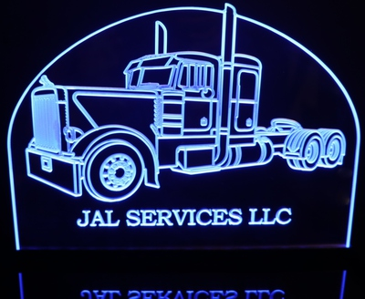 2001 Semi Peterbilt (choose your text) Acrylic Lighted Edge Lit LED Sign / Light Up Plaque Full Size Made in USA