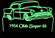 1954 Olds Super 88 Oldsmobile Acrylic Lighted Edge Lit LED Sign / Light Up Plaque Full Size Made in USA