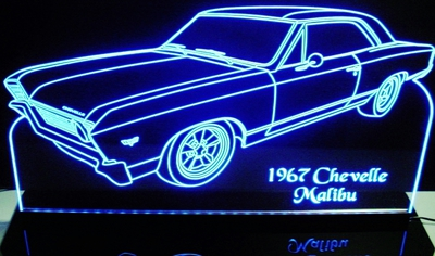 1967 Chevelle Malibu Acrylic Lighted Edge Lit LED Sign / Light Up Plaque Full Size Made in USA