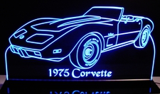 1975 Corvette Convertible Acrylic Lighted Edge Lit LED Sign / Light Up Plaque Full Size Made in USA