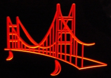 Bay Bridge (Add your business logo etc) San Francisco Acrylic Lighted Edge Lit LED Sign / Light Up Plaque Full Size Made in USA