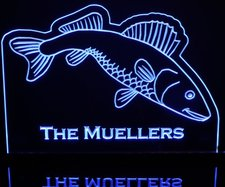 Fish (add your own text) Acrylic Lighted Edge Lit LED Sign / Light Up Plaque Full Size Made in USA