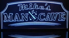 Man Cave with Guitar (add your name) Acrylic Lighted Edge Lit LED Sign / Light Up Plaque Full Size Made in USA