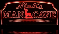 Man Cave with Deer Nick's (add your name) Acrylic Lighted Edge Lit LED Sign / Light Up Plaque Full Size Made in USA