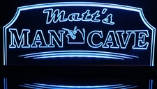 Man Cave with Hunter & Dog (add your name) Acrylic Lighted Edge Lit LED Sign / Light Up Plaque Full Size Made in USA
