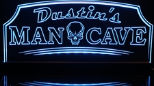 Man Cave with Skull Acrylic Lighted Edge Lit LED Sign / Light Up Plaque Full Size Made in USA