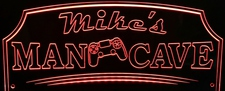 Man Cave with Game Controller Acrylic Lighted Edge Lit LED Sign / Light Up Plaque Full Size Made in USA