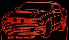 2011 Mustang GT Acrylic Lighted Edge Lit LED Sign / Light Up Plaque Full Size Made in USA