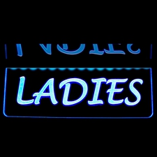 Ladies Restroom Mens Gents Women Bathroom Ceiling Mount Acrylic Lighted Edge Lit LED Sign / Light Up Plaque Full Size Made in USA