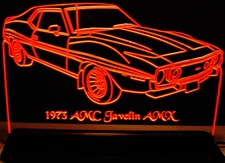 1973 AMC Javelin Acrylic Lighted Edge Lit LED Sign / Light Up Plaque Full Size Made in USA