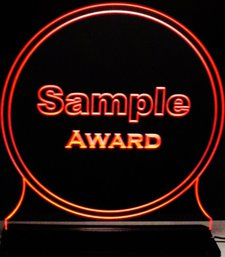 Circle Sample Acrylic Lighted Edge Lit LED Sign / Light Up Plaque Full Size Made in USA