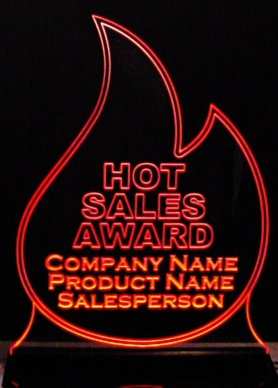 Flame Sample Acrylic Lighted Edge Lit LED Sign / Light Up Plaque Full Size Made in USA