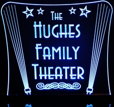 Theater Home Acrylic Lighted Edge Lit LED Sign / Light Up Plaque Full Size Made in USA