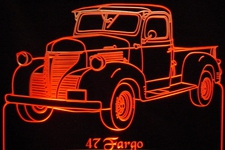 1947 Fargo Pickup Acrylic Lighted Edge Lit LED Truck Sign / Light Up Plaque