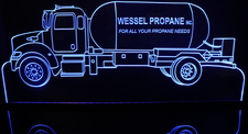 Propane Gas Truck Semi Hauler (add your own name) Acrylic Lighted Edge Lit LED Sign / Light Up Plaque Full Size Made in USA