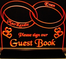 Wedding Guest Book Reception Book signing book Rings Hearts Acrylic Lighted Edge Lit LED Sign / Light Up Plaque Full Size Made in USA