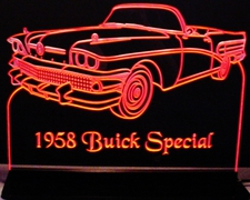 1958 Buick Special Convertible Acrylic Lighted Edge Lit LED Sign / Light Up Plaque Full Size Made in USA