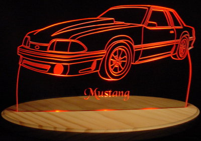 1989 Ford Mustang (Side) Acrylic Lighted Edge Lit LED Car Sign / Light Up Plaque