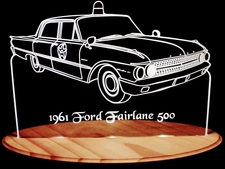 1961 Fairlane Police Car Acrylic Lighted Edge Lit LED Sign / Light Up Plaque Full Size Made in USA