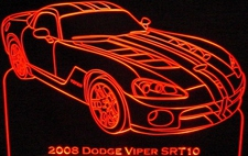 2008 Viper SRT10 Acrylic Lighted Edge Lit LED Sign / Light Up Plaque Full Size USA Original