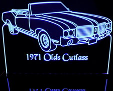 1971 Oldsmobile Cutlass SX Convertible Acrylic Lighted Edge Lit LED Sign / Light Up Plaque Full Size Made in USA