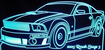 2005 Roush Stage 3 Acrylic Lighted Edge Lit LED Car Sign / Light Up Plaque