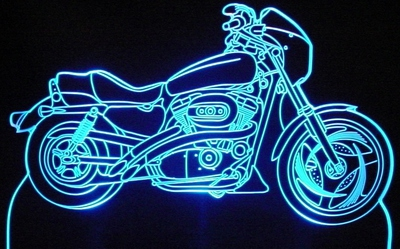 2007 Air Force Sportster Motorcycle Acrylic Lighted Edge Lit LED Bike Sign / Light Up Plaque