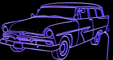 1956 Plymouth Belvedere SW Acrylic Lighted Edge Lit LED Car Sign / Light Up Plaque