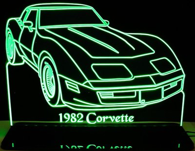 1982 Chevy Corvette Acrylic Lighted Edge Lit LED Car Sign / Light Up Plaque Chevrolet