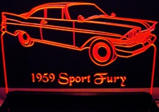 1959 Plymouth Sport Fury Acrylic Lighted Edge Lit LED Sign / Light Up Plaque Full Size Made in USA