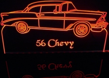 1956 Chevy 2 Door Hardtop Acrylic Lighted Edge Lit LED Sign / Light Up Plaque Full Size Made in USA